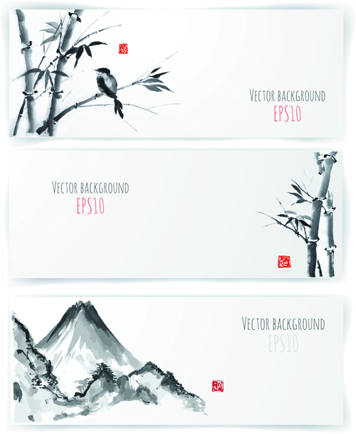 water ink banner bamboo