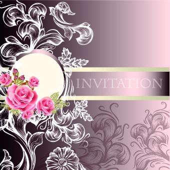 Ornate Wedding Invitation Card Vector 02