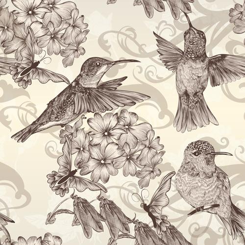 Vintage Style vintage hand-draw hand drawn drawn birds