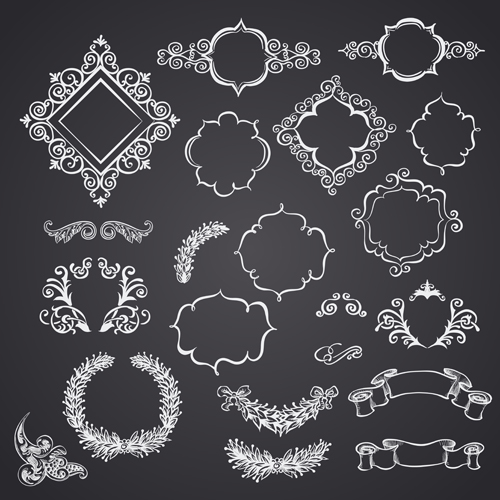 ribbon ornaments ornament frames black and white