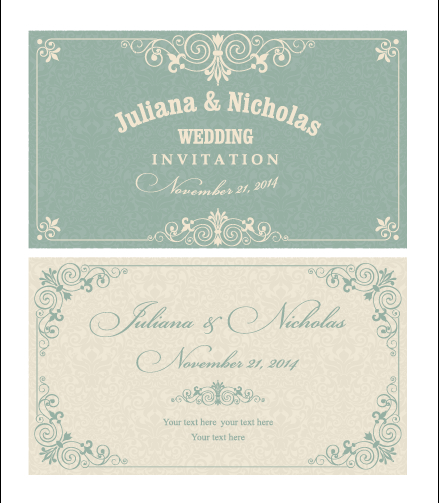 Decorative Pattern Wedding Invitation Cards Vector Set 02