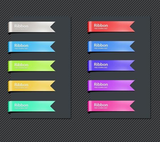 shiny ribbon psd colored