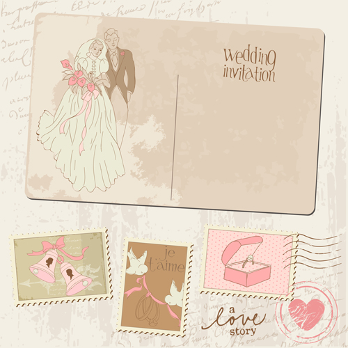 vintage wedding postcard with postage stamps vector 02
