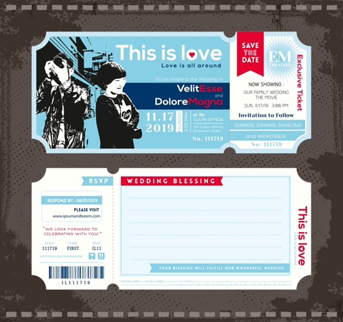 wedding invitation ticket template vector 01 welovesolo