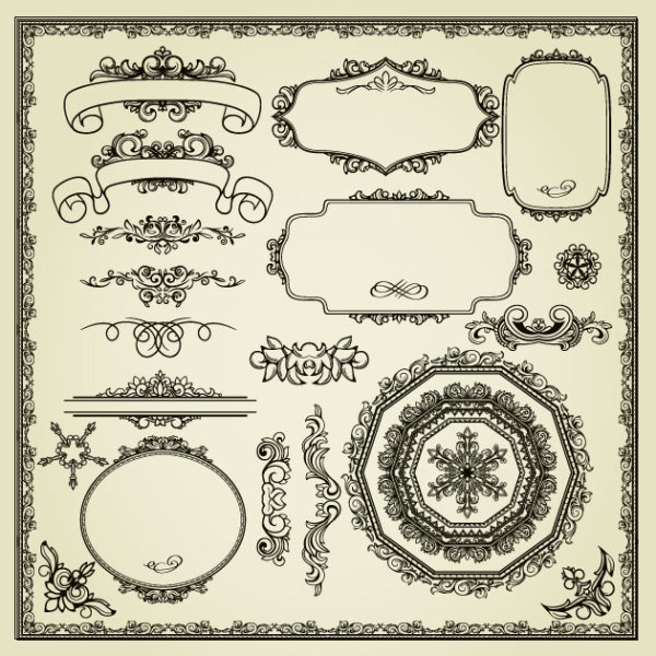 e262a78b11a Vintage Style Frames And Borders Vector Set 02 Welovesolo