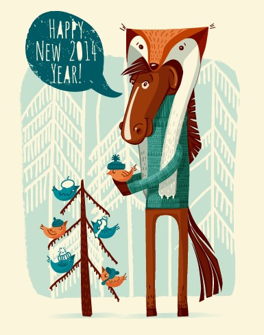 year new year funny background vector background