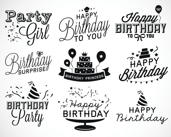 Happy Birthday black logos vector set - WeLoveSoLo