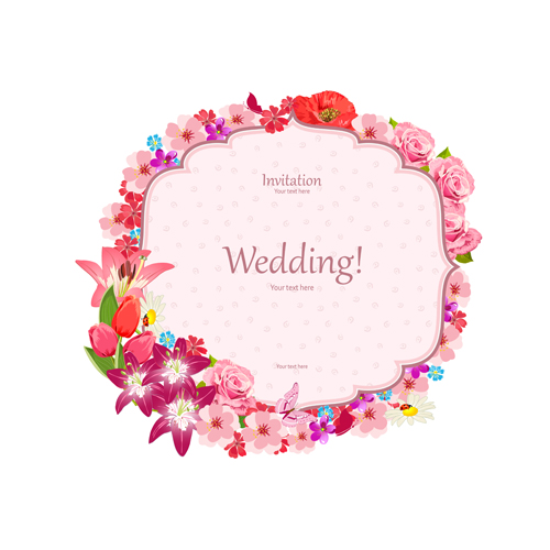 Flower Svg Library Download For Wedding Invitations: Pink Flower Frame Wedding Invitation Cards Vector 02