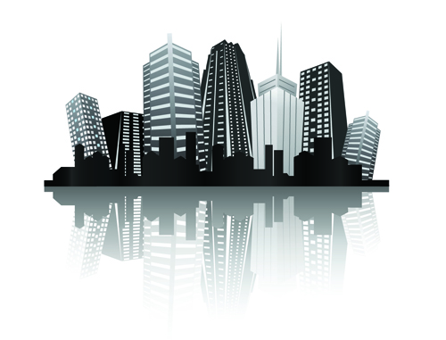 Black with white city building design vector 01 welovesolo white city building city black voltagebd Images
