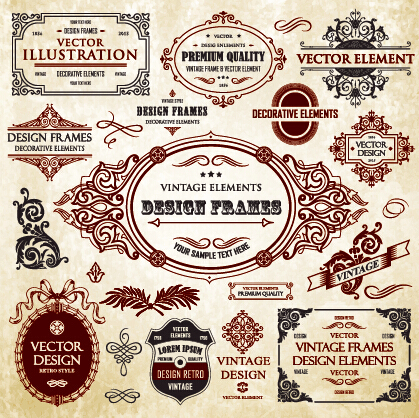Calligraphic frames with decor elements vintage styles vector 09 ...