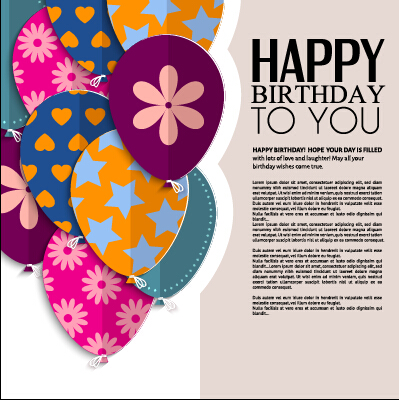 Template birthday greeting card vector material 03 WeLoveSoLo