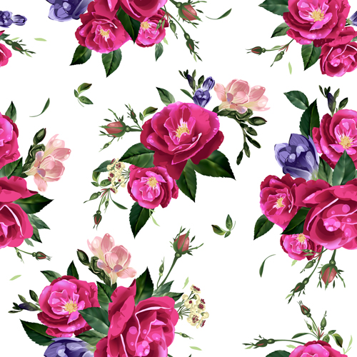 seamless roses Retro font pattern beautiful