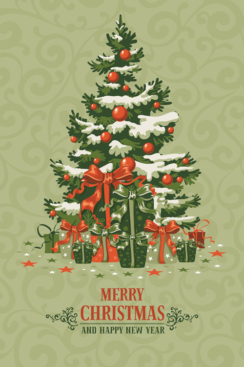 Retro xmas greeting cards vectors 01 - WeLoveSoLo