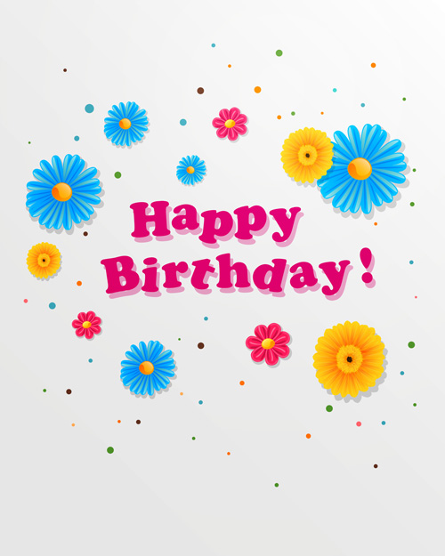 Cute flower with Happy birthday greeting cards vector 01 WeLoveSoLo – Happy Birthday Post Cards