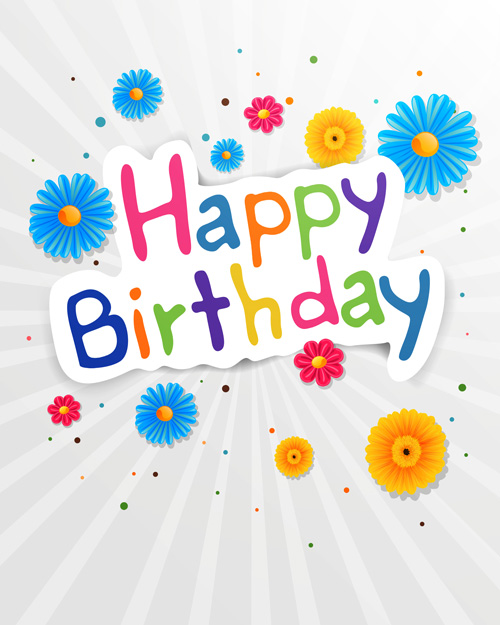 Cute flower with Happy birthday greeting cards vector 02 WeLoveSoLo – Happy Birthday Post Cards