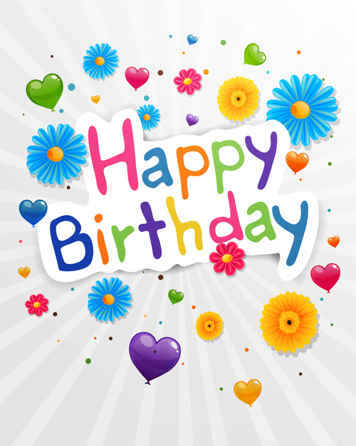 Cute flower with Happy birthday greeting cards vector 03 WeLoveSoLo – Happy Birthday Post Cards