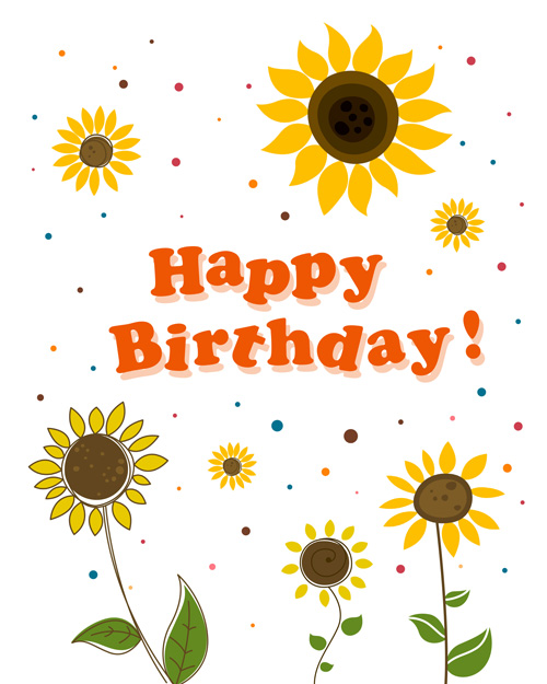 Cute Flower With Happy Birthday Greeting Cards Vector 05 Welovesolo