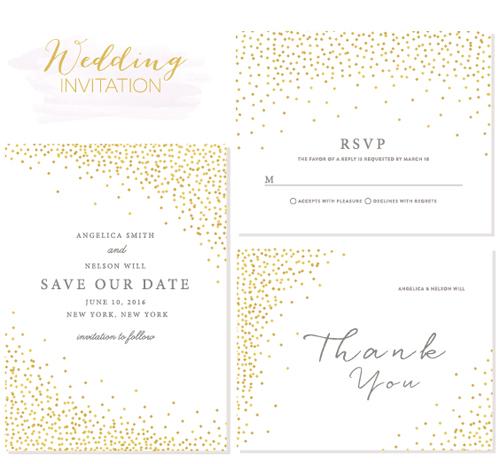Elegant wedding invitations creative vector material 02 WeLoveSoLo