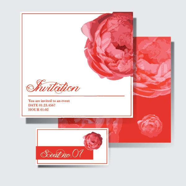 pink invitation graphic flower design card