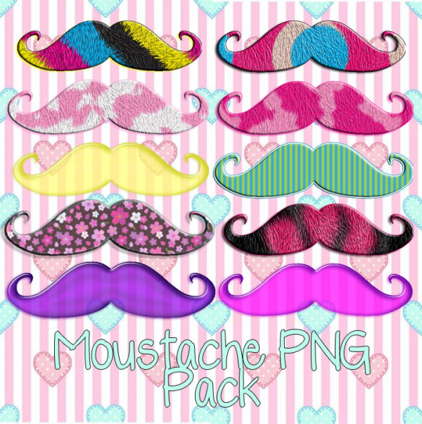 Various png pack mustache color