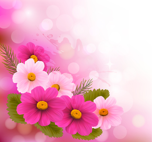Beautiful pink flowers vector background set 09 welovesolo pink flowers beautiful background mightylinksfo