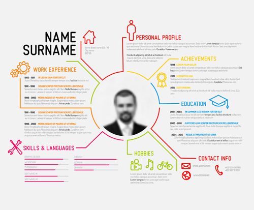Creative Resume Template Design Vectors 04 - Welovesolo