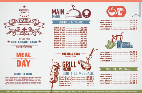 Modern restaurant menu list design vectors - WeLoveSoLo