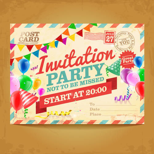 Party invitation postcards vector material 03 welovesolo party invitation postcards vector material 03 stopboris Images