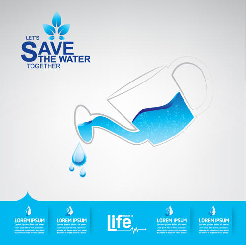 Save Water Infographics Template Vector 14 Welovesolo