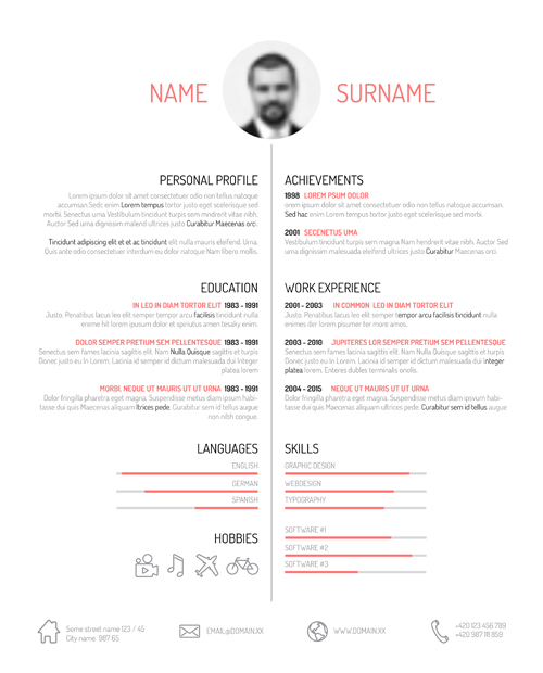 creative resume template design vectors 01 - Pretty Resume Templates