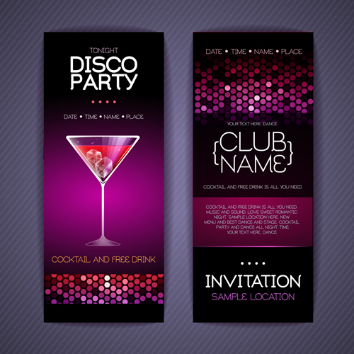 Disco party Invitation cards creative vector 03 WeLoveSoLo – Creative Party Invitation