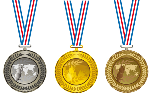 champion 1 Champion Cup And medals design vector set 01