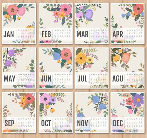 Calendar Vintage Vector : Calendar with retro flower vectors welovesolo