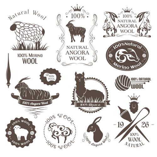 wool natural logo badge