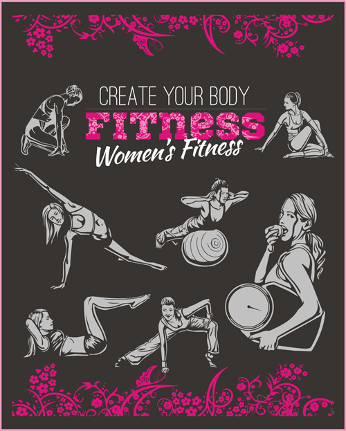 women's poster material fitness club