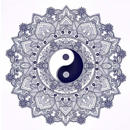 Yin Yang Patterns Mandala
