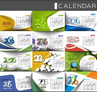 2016 desk calendar template vectors set 13 welovesolo