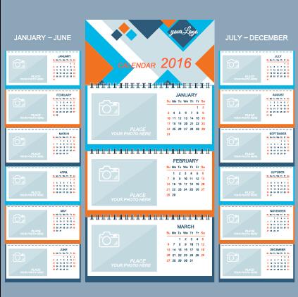 2016 Desk Calendar Template Vectors Set 15 Welovesolo