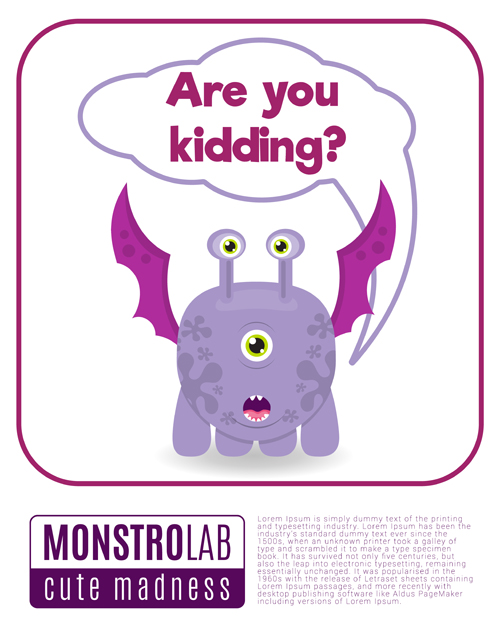 text monster madness cartoon box