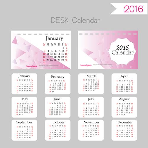 2016 desk calendar template vectors set 07 welovesolo