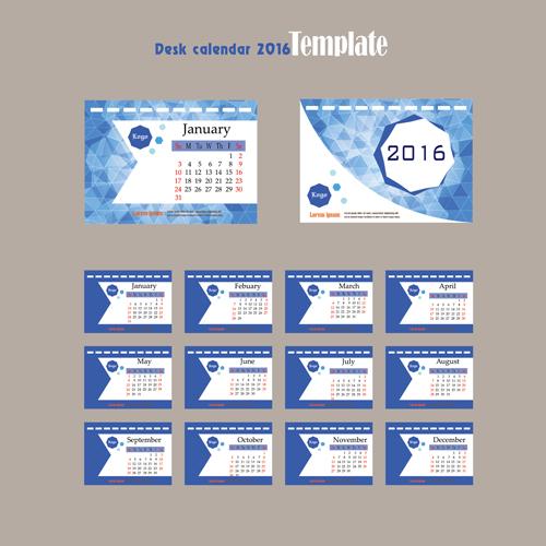 2016 Desk Calendar Template Vectors Set 10 Welovesolo