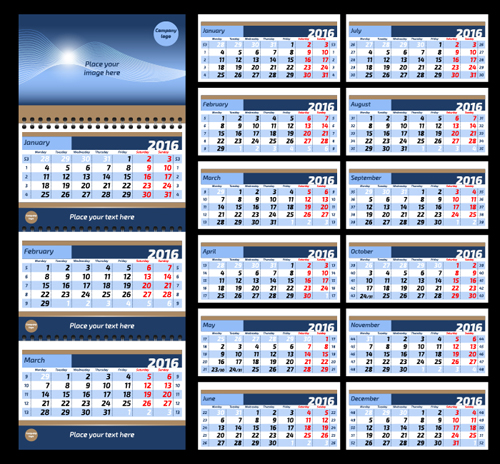 2016 Desk Calendar Template Vectors Set 11 Welovesolo