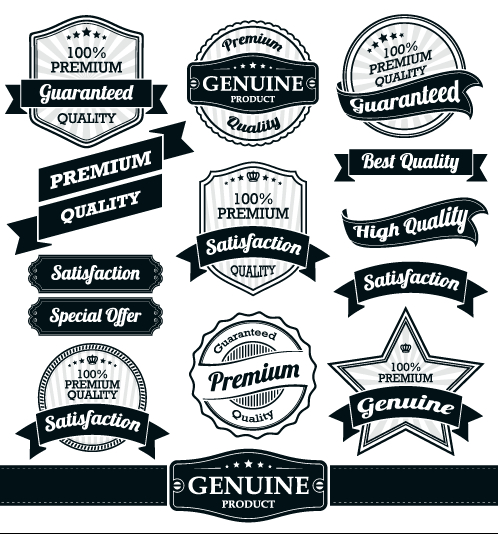 retro premium quality ribbon labels vector 04 welovesolo