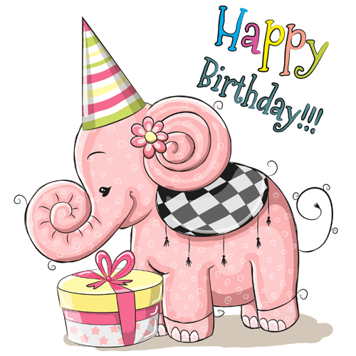Cute Elephant Happy Birthday Cards Vector