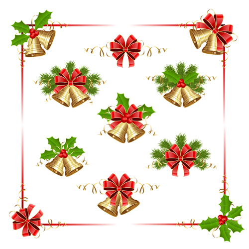holly frame christmas Berry bells and