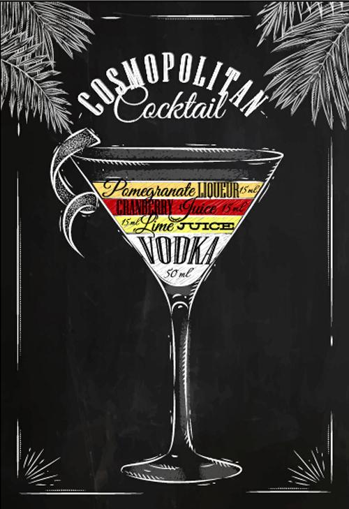 poster hand drawn blackboard Alcoholic