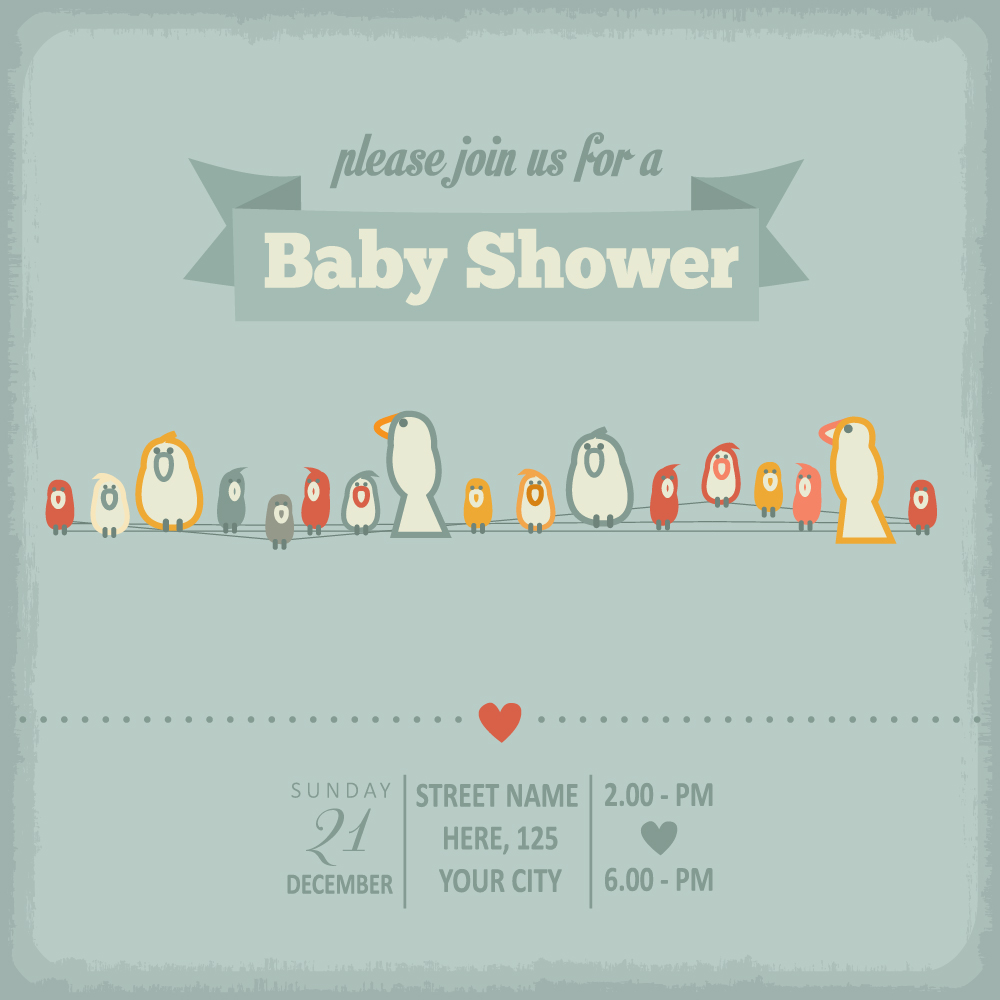 Vintage baby shower Invitation cards vector 04 - WeLoveSoLo