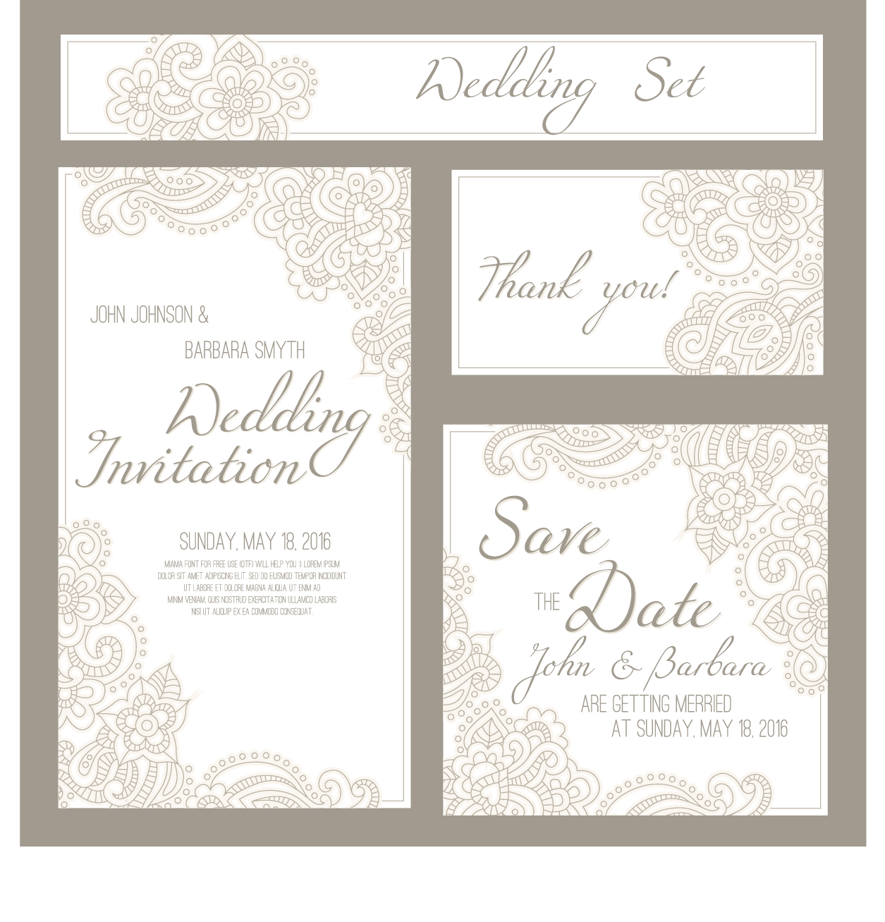 Wedding invitation card with banner vector - WeLoveSoLo