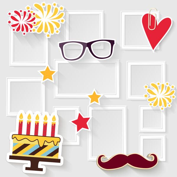Birthday cake with photo frame vector - WeLoveSoLo