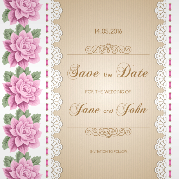 Wedding invitation card with flower vintage vector 04 welovesolo wedding invitation card with flower vintage vector 04 stopboris Images